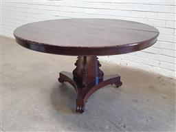 Sale 9134 - Lot 1493 - Round timber dining table on pedestal base (h74 x d135cm)