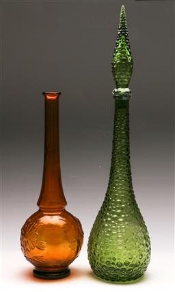 Sale 9131 - Lot 46 - A large green genie decanter together with An orange glass example