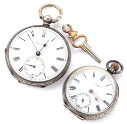 Sale 9140 - Lot 324 - TWO SILVER OPEN FACE POCKE WATCHES; one with white dial, Roman numerals, subsidiary seconds, key wind and set, case diam. 40mm, with...