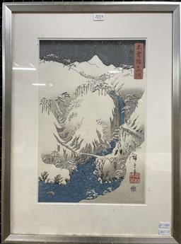Sale 9135 - Lot 2014 - Japanese Woodblock print depicting a Winter Mountainscape 56 x 41cm -