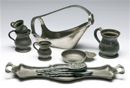 Sale 9153 - Lot 42 - A collection of pewter ware incl bottle holder (W:25cm)