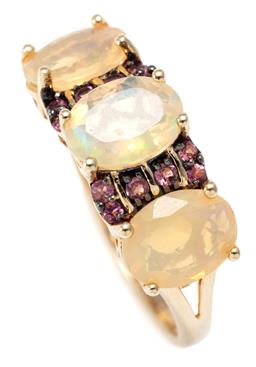 Sale 9209J - Lot 334 - AN OPAL AND GEMSET RING; set across the top with 3 oval cut Ethiopian opals and small round cut zircons, size S, width 8mm, wt. 2.95g.