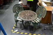 Sale 8019 - Lot 1017 - 3 Piece Garden Setting incl. Table & 2 Iron Chairs