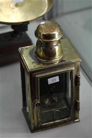 Sale 8032 - Lot 44 - Antique Brass Wall Lamp with Key in office