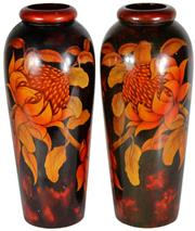 Sale 8065 - Lot 70 - Pokerwork Pair of Australian Timber Waratah Vases
