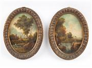 Sale 8473A - Lot 17 - A pair of very finely painted bucolic works on card, one depicting a castle ruin, the other a fishing scene, both in elaborate gilt...