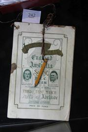 Sale 8264 - Lot 24 - England v Australia Third Test Souvenir Programme Adelaide Oval, 13 January 1933