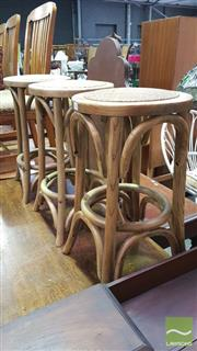 Sale 8371 - Lot 1016 - Set of 3 Natural Breakfast Stools