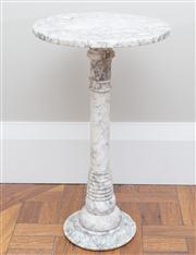 Sale 8470H - Lot 154 - An Art Deco alabaster occasional table with circular top and turned pedestal, H 63cm