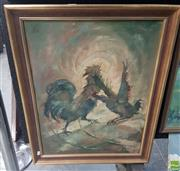 Sale 8563T - Lot 2078 - Artist Unknown, Cock Fight, Oil, signed, 64x49cm