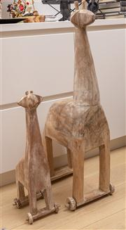 Sale 8703A - Lot 19 - Two graduated rustic giraffes , Height of taller 88cm