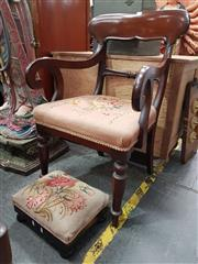 Sale 8700 - Lot 1049 - Victorian Armchair Upholstered with Tapestry together with a Foot Stool Upholstered in Same