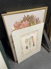 Sale 8910 - Lot 2082 - 4 Works: Two framed floral works together with a paper drawing and another