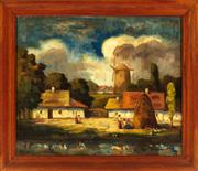 Sale 8976H - Lot 100 - Dutch School XIX, Village Scene, oil on canvas, indisctinctly signed lower right. 50 x 57cm