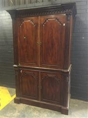 Sale 9031 - Lot 1064 - Good Georgian Style Mahogany Entertainment Cabinet, with four shaped panel doors (the upper retracting), flanked by half-columns