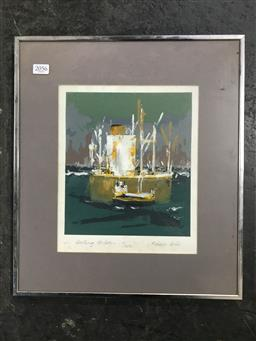 Sale 9113 - Lot 2056 - Robin Hall Darling Harbour, screen print (41x36cm), signed