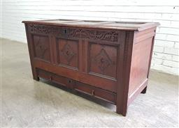 Sale 9142 - Lot 1031 - 18th Century Oak Mule Chest, with hinged panel top, later blind carved frieze, the diamond panels possibly original, with a drawer b...