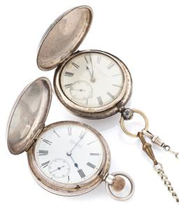 Sale 9140 - Lot 334 - TWO SILVER FULL HUNTER POCKET WATCHES; one in a plain case with engraved cartouche, white dial and swing out verge movement signed C...