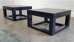 Sale 9210 - Lot 1015 - Pair of Chinese hardwood coffee tables with stone insert (h:46 w:80 d:80cm)