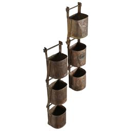 Sale 9216S - Lot 86 - A pair of metal three tiered hanging planters, Height 95cm x Width 19cm x Depth 16cm