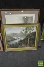 Sale 8214 - Lot 2110 - Gail Barnes - Hawkens Lookout, Wisemans Ferry, framed oil painting, together with signed limited edition etching by