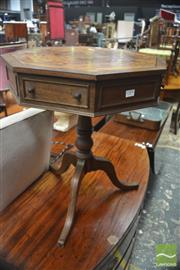 Sale 8317 - Lot 1084 - Antique Style Mahogany Octagonal Works Table with hinged top and false drawers on turned pedestal