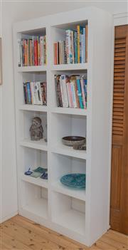 Sale 8380A - Lot 10 - A white painted bookshelf with 10 compartments, H 215 x W 98 x D 38cm