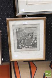 Sale 8468 - Lot 2018 - C17th Engraving Israelites Gathering Manna