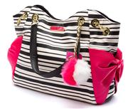 Sale 8640F - Lot 101 - A brand new Betsey Johnson leather handbag, black and white stripe with pink bows, H 30 x W 39cm.