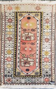 Sale 8740 - Lot 1586 - Persian Wool Carpet with Geometric Patterns (150 x 86cms)