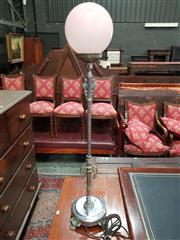 Sale 8774 - Lot 1061 - Art Deco Chrome Lamp, converted, with pink ball shade, the turned shaft with scrolls & paw feet base