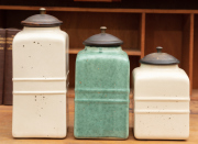 Sale 8795A - Lot 78 - A collection of 3 graduated vintage style ceramic lidded containers, height of tallest: 26cm