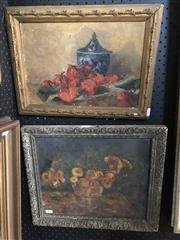 Sale 8807 - Lot 2077 - Artist Unknown Still Life with Strawberries and Ceramic Jar oil on canvas (AF), plus Another Still Life - Dandelions (AF) By Unknow
