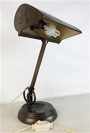 Sale 8967 - Lot 1001 - Vintage British Brass Bankers Lamp with Articulated Arm by Frederick Thomas Cash (H:41cm)