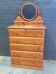 Sale 9043 - Lot 1093 - Pine 6 Drawer Chest with Mirror Top (h:120 x w:90 x d:43cm)