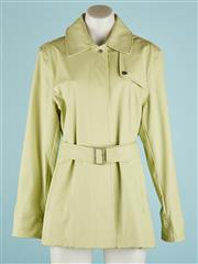 Sale 9071F - Lot 56 - A LIME GREEN SPIRIT OVERCOAT with snap button below collar, waist belt with buckle, storm flap to back and small eyelets underarms f...