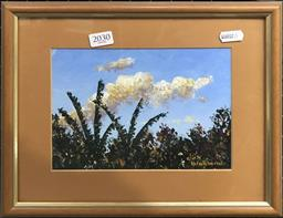 Sale 9103 - Lot 2030 - Dirk Blokland Tree Tops, oil on canvas board, frame: 25 x 30 cm, signed lower right -