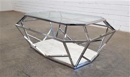 Sale 9166 - Lot 1051 - Glass and steel coffee table with marble base