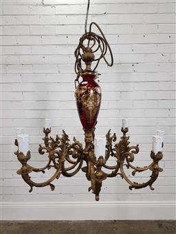 Sale 9174 - Lot 1303 - Bohemian brass eight arms chandelier decorated ruby glass centre (h92cm)