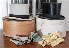 Sale 9195H - Lot 86 - Two boxed top hats with gloves