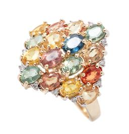 Sale 9253J - Lot 458 - A 14CT GOLD MULTICOLOURED SAPPHIRE AND DIAMOND RING; lozenge shape top set with oval cut blue and 4 green sapphires and 11 beryllium...