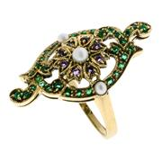 Sale 8134B - Lot 317 - A NOUVEAU STYLE 9CT GOLD GEM SET RING; amethyst and pearl cluster to emerald surround with pearl set shoulders. Size O.