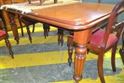 Sale 8255 - Lot 1084 - Victorian Mahogany Extension Dining Table, with single leaf, on turned reeded legs (winder in office)