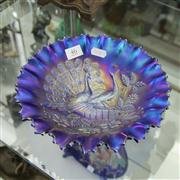 Sale 8379 - Lot 46 - Blue Carnival Glass Dish Depicting Peacocks