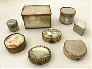 Sale 8436A - Lot 3 - A group of vintage pill boxes inset with mother of pearl to include Indian, Israeli, Italian and other origins. (8)
