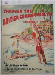 Sale 8431B - Lot 46 - Image of Children surfing on front cover of an English book for children, Through the British Commonwealth, Australia and Tasmania b...