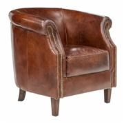 Sale 8473A - Lot 52 - A pair of aged leather tub chairs, with rolled arms and brass stud detail, H 80 x W 81 x D 74cm