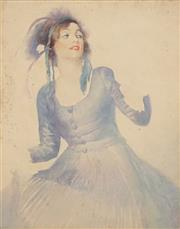 Sale 8538 - Lot 573 - Attributed to Norman Lindsay (1879 - 1969) - Woman in a Blue Dress 38 x 29cm
