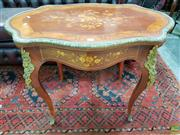 Sale 8576 - Lot 1005 - Louis XV Style Marquetry & Brass Mounted Occasional Table, the shaped top with floral inlay, the cabriole legs mounted with caryatid...