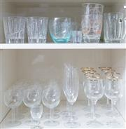 Sale 8593A - Lot 58 - Two shelf lots of assorted glass including champagne, gilt rimmed wine, etc